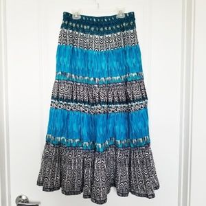 Notations | Blue Boho Print Maxi Skirt
